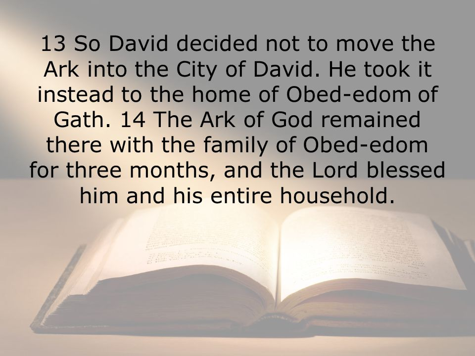 13 So David decided not to move the Ark into the City of David.