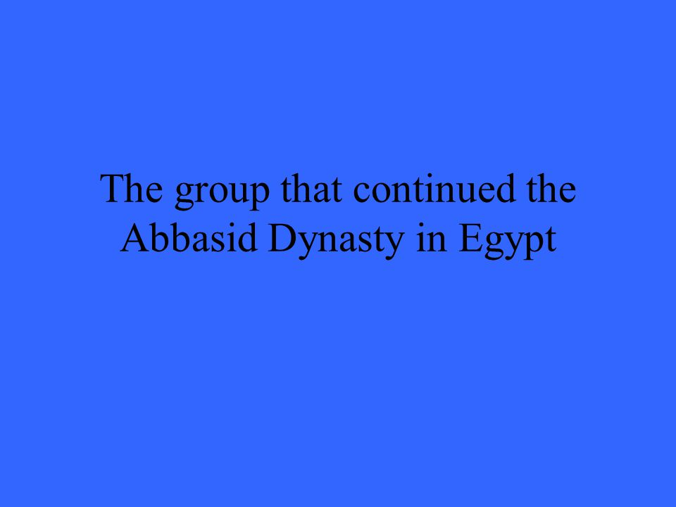 The group that continued the Abbasid Dynasty in Egypt