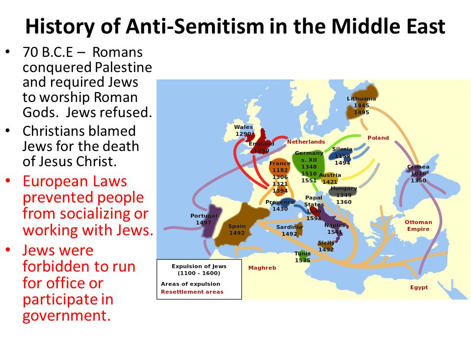 History of Anti-Semitism in the Middle East 70 B.C.E – Romans conquered Palestine and required Jews to worship Roman Gods.