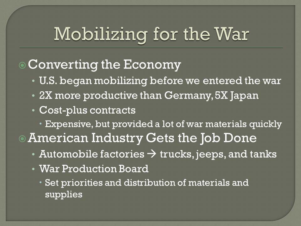  Converting the Economy U.S.