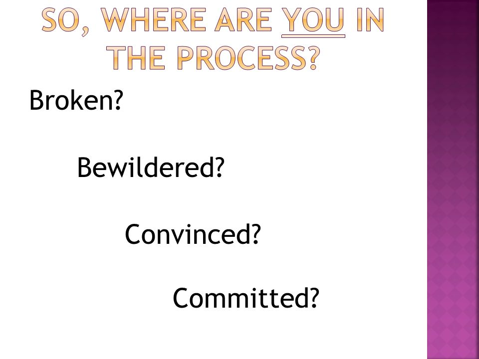 Broken? Bewildered? Convinced? Committed?