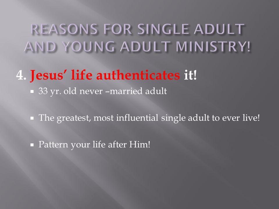 4. Jesus' life authenticates it.  33 yr.