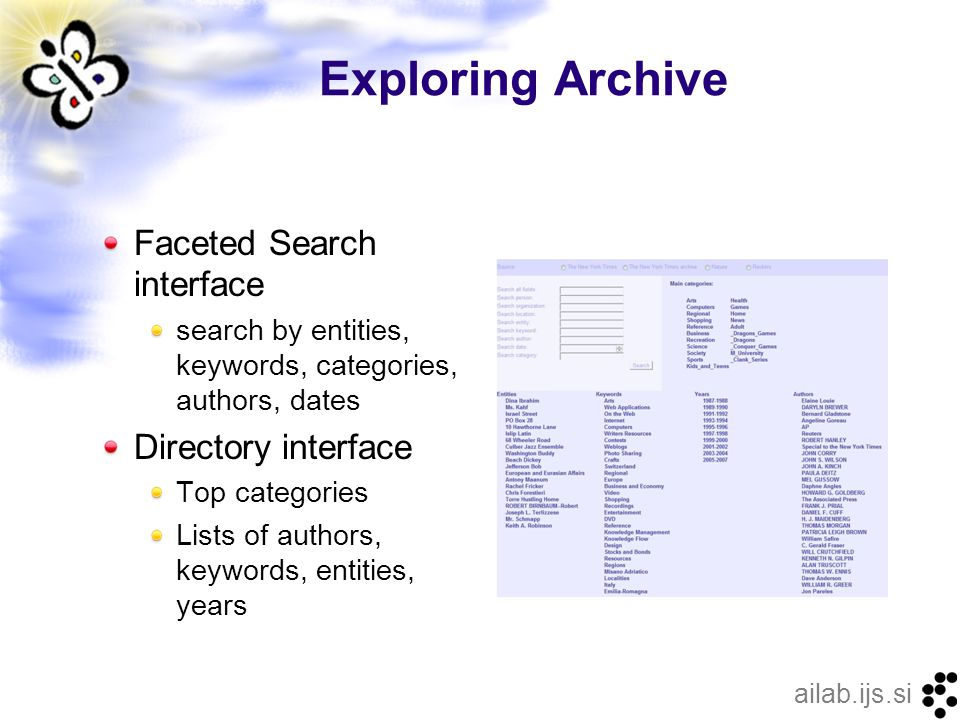 ailab.ijs.si Exploring Archive Faceted Search interface search by entities, keywords, categories, authors, dates Directory interface Top categories Lists of authors, keywords, entities, years