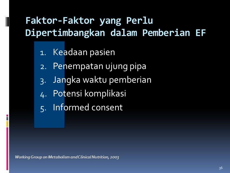 Faktor-Faktor yang Perlu Dipertimbangkan dalam Pemberian EF 1.