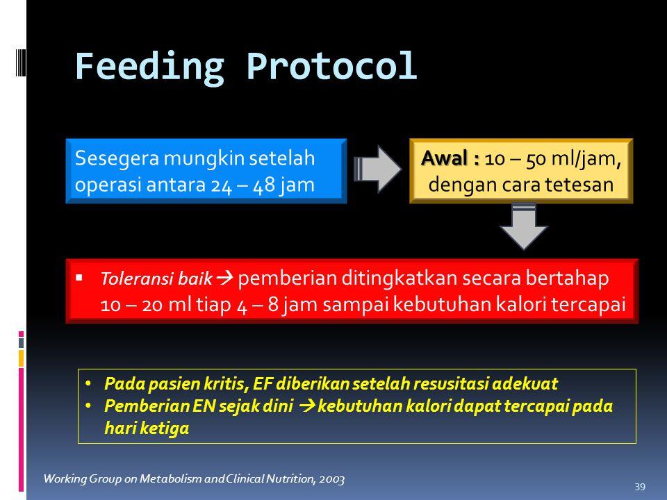 Feeding Protocol 39 Sesegera mungkin setelah operasi antara 24 – 48 jam Awal : Awal : 10 – 50 ml/jam, dengan cara tetesan  Toleransi baik  pemberian ditingkatkan secara bertahap 10 – 20 ml tiap 4 – 8 jam sampai kebutuhan kalori tercapai Pada pasien kritis, EF diberikan setelah resusitasi adekuat Pemberian EN sejak dini  kebutuhan kalori dapat tercapai pada hari ketiga Working Group on Metabolism and Clinical Nutrition, 2003