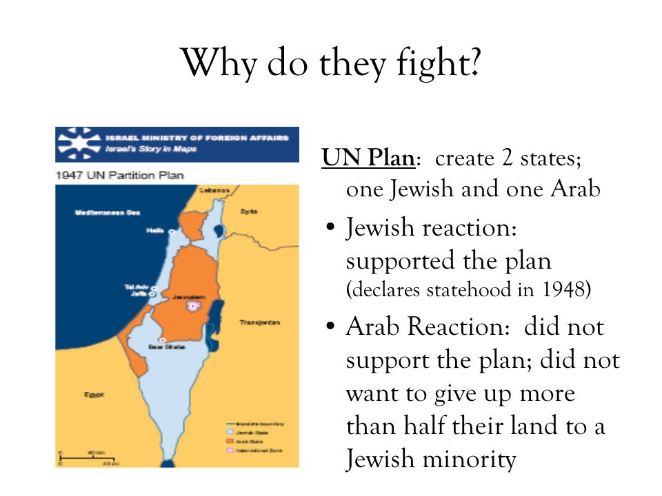 Why do they fight? UN Plan : create 2 states; one Jewish and one Arab Jewish reaction: supported the plan (declares statehood in 1948) Arab Reaction: