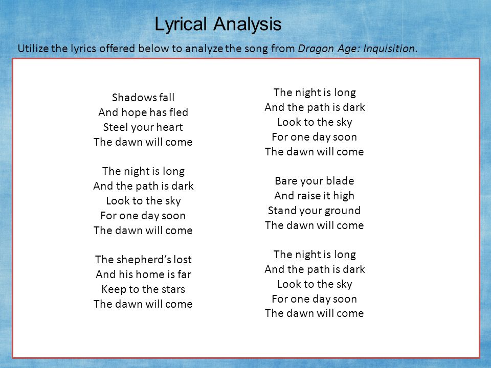 Lyrical Analysis 1.How many verses are in the song.