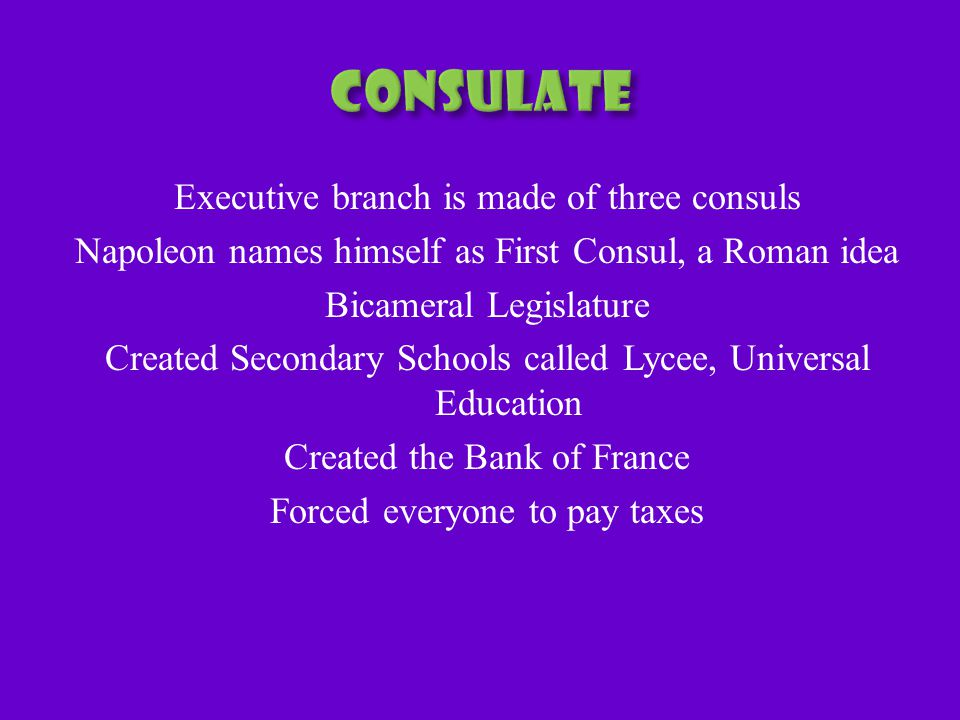 Executive branch is made of three consuls Napoleon names himself as First Consul, a Roman idea Bicameral Legislature Created Secondary Schools called Lycee, Universal Education Created the Bank of France Forced everyone to pay taxes