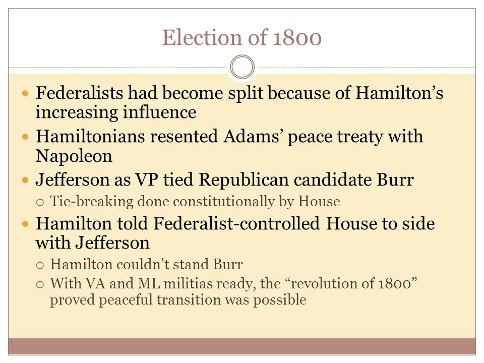Election of 1800 Federalists had become split because of Hamilton's increasing influence Hamiltonians resented Adams' peace treaty with Napoleon Jefferson as VP tied Republican candidate Burr  Tie-breaking done constitutionally by House Hamilton told Federalist-controlled House to side with Jefferson  Hamilton couldn't stand Burr  With VA and ML militias ready, the revolution of 1800 proved peaceful transition was possible
