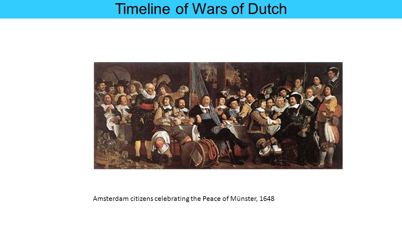 Timeline of Wars of Dutch Amsterdam citizens celebrating the Peace of Münster, 1648