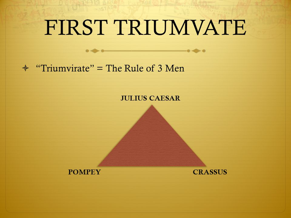 FIRST TRIUMVATE  Triumvirate = The Rule of 3 Men JULIUS CAESAR CRASSUS POMPEY