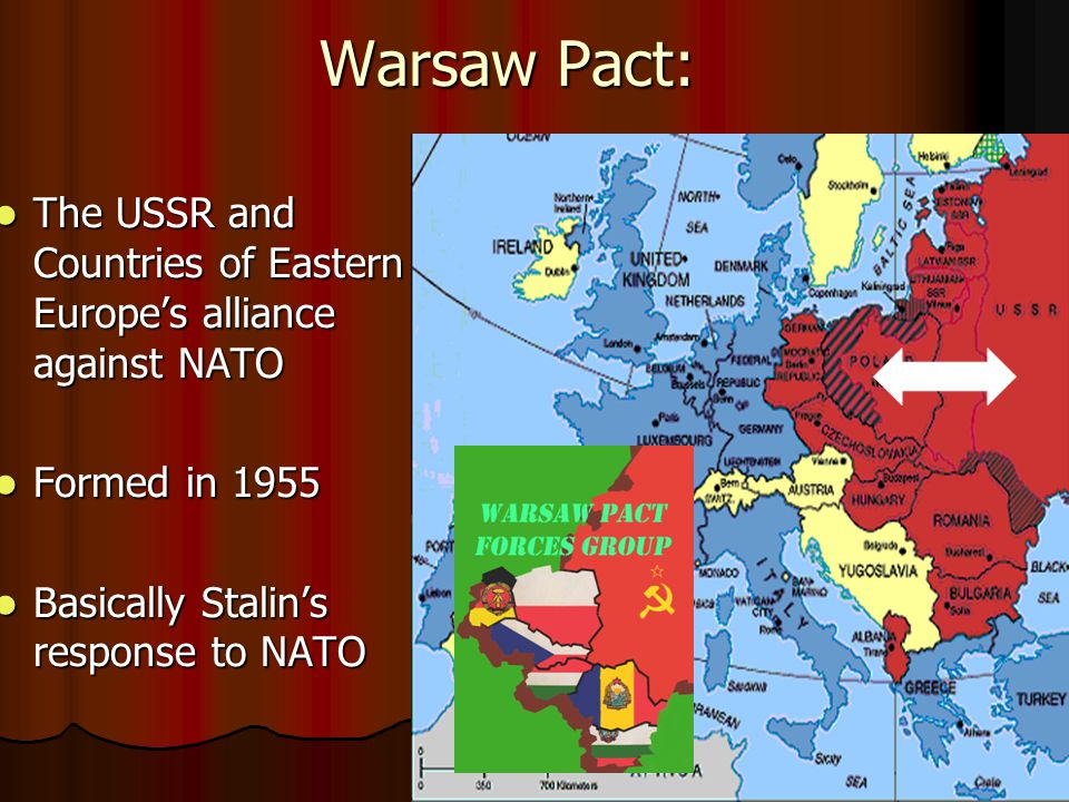 Warsaw Pact: The USSR and Countries of Eastern Europe's alliance against NATO The USSR and Countries of Eastern Europe's alliance against NATO Formed in 1955 Formed in 1955 Basically Stalin's response to NATO Basically Stalin's response to NATO