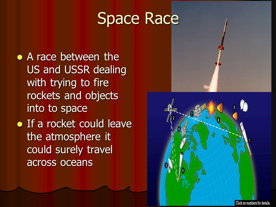 Space Race A race between the US and USSR dealing with trying to fire rockets and objects into to space A race between the US and USSR dealing with trying to fire rockets and objects into to space If a rocket could leave the atmosphere it could surely travel across oceans If a rocket could leave the atmosphere it could surely travel across oceans