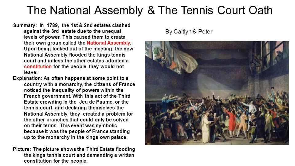 The National Assembly & The Tennis Court Oath Summary: In 1789, the 1st & 2nd estates clashed against the 3rd estate due to the unequal levels of powe