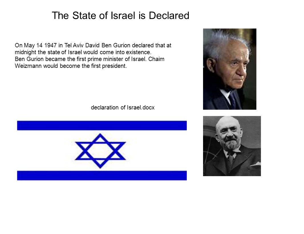 The State of Israel is Declared On May 14 1947 in Tel Aviv David Ben Gurion declared that at midnight the state of Israel would come into existence.