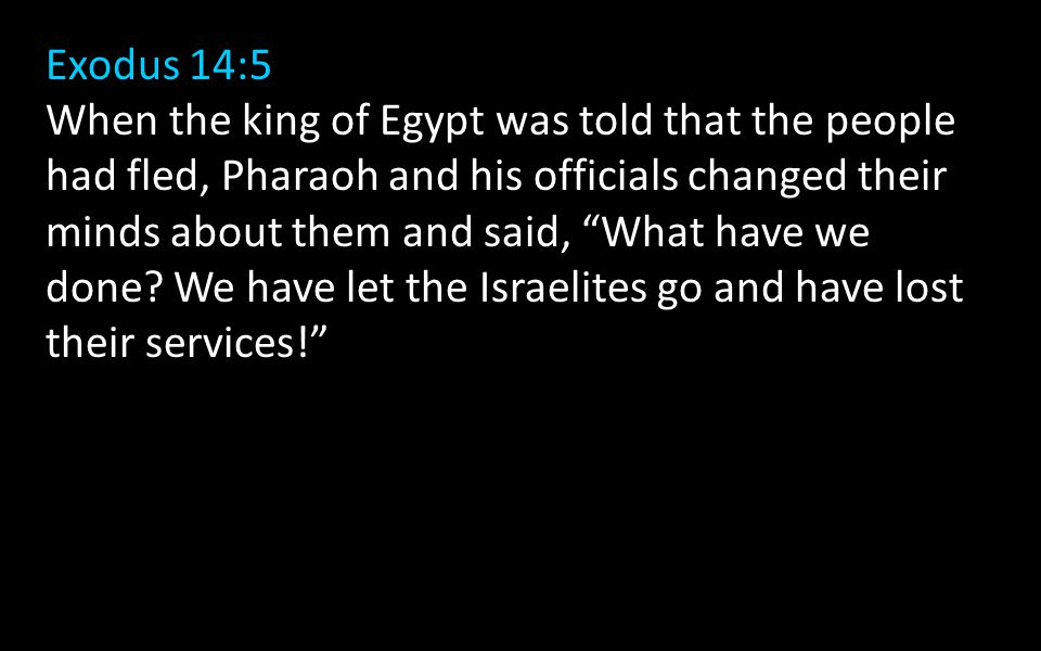 Exodus 14:5 When the king of Egypt was told that the people had fled, Pharaoh and his officials changed their minds about them and said, What have we done.