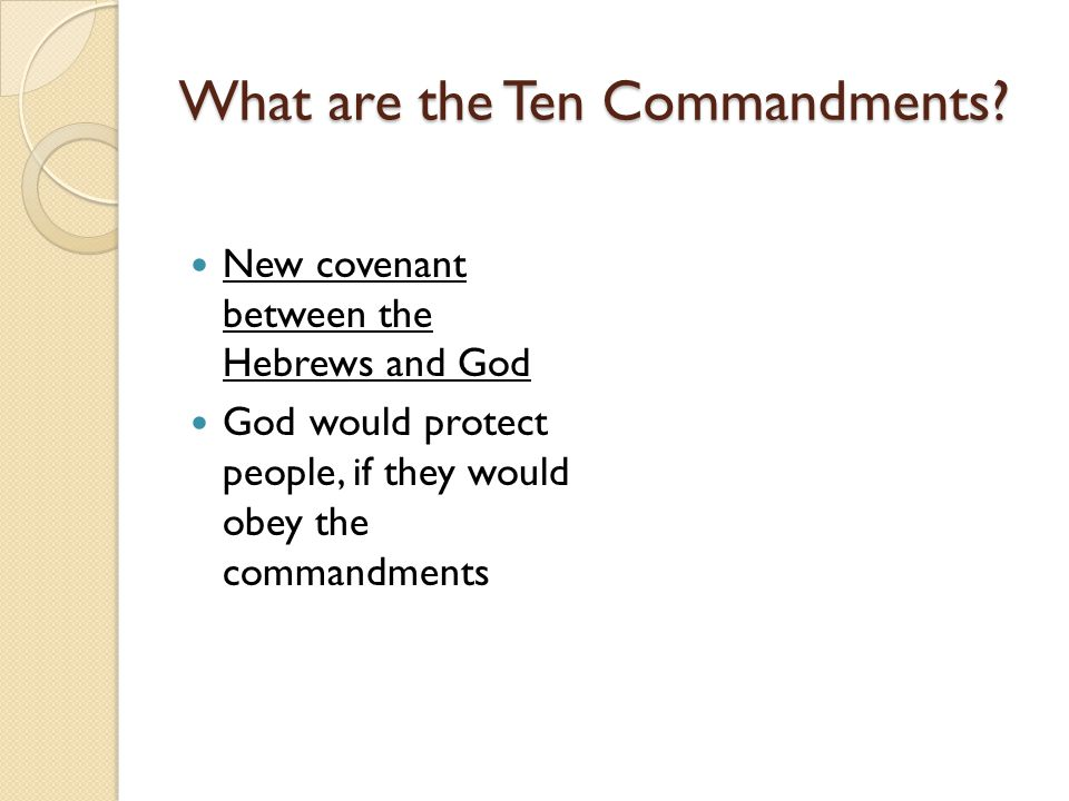 What are the Ten Commandments.