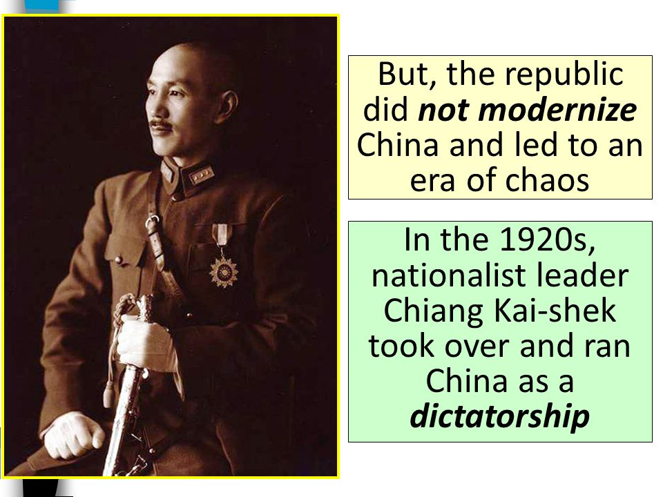 In 1912, Sun Yat-sen ended the Chinese dynastic system and created a democracy called the Republic of China A group of reformers called nationalists c