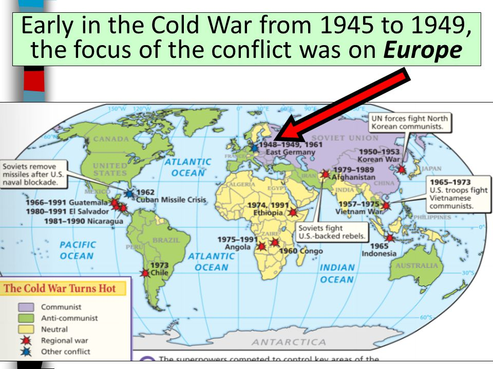 The Cold War was a conflict of rival ideologies between the USA and USSR that lasted from 1945 to 1991