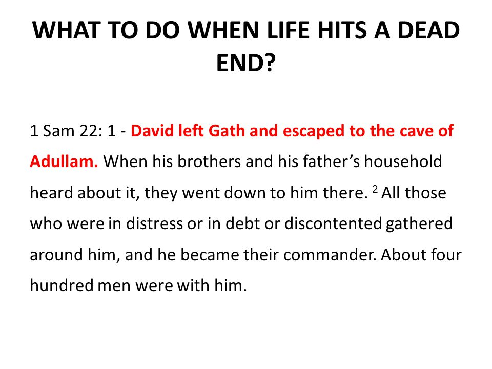 WHAT TO DO WHEN LIFE HITS A DEAD END.