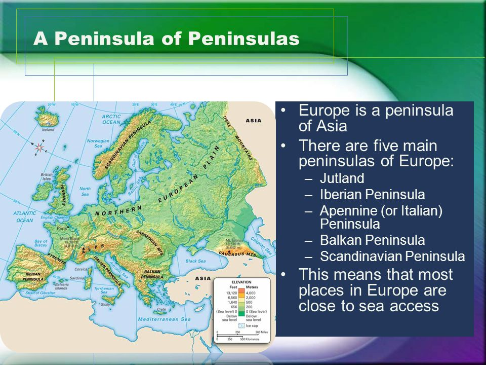 A Peninsula of Peninsulas Europe is a peninsula of Asia There are five main peninsulas of Europe: –Jutland –Iberian Peninsula –Apennine (or Italian) Peninsula –Balkan Peninsula –Scandinavian Peninsula This means that most places in Europe are close to sea access