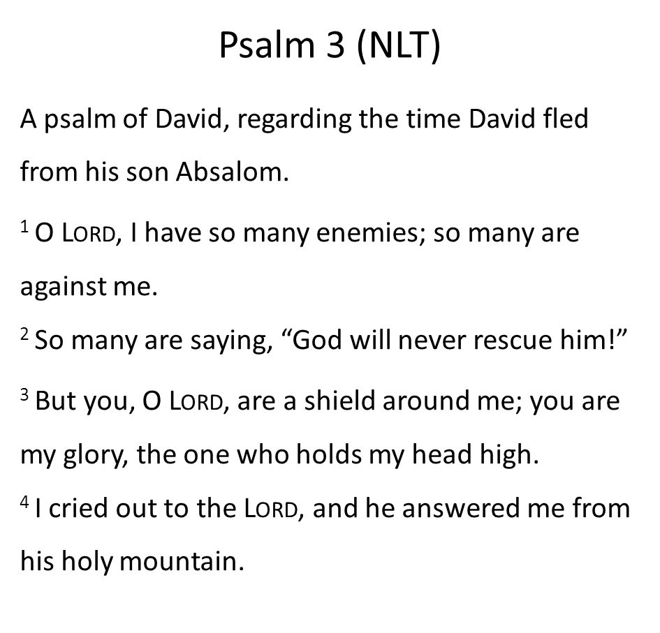 Psalm 3 (NLT) A psalm of David, regarding the time David fled from his son Absalom.
