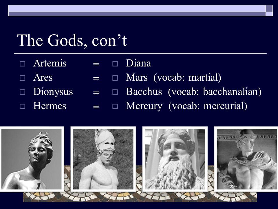 The Gods, con't  Artemis  Ares  Dionysus  Hermes  Diana  Mars (vocab: martial)  Bacchus (vocab: bacchanalian)  Mercury (vocab: mercurial) ========