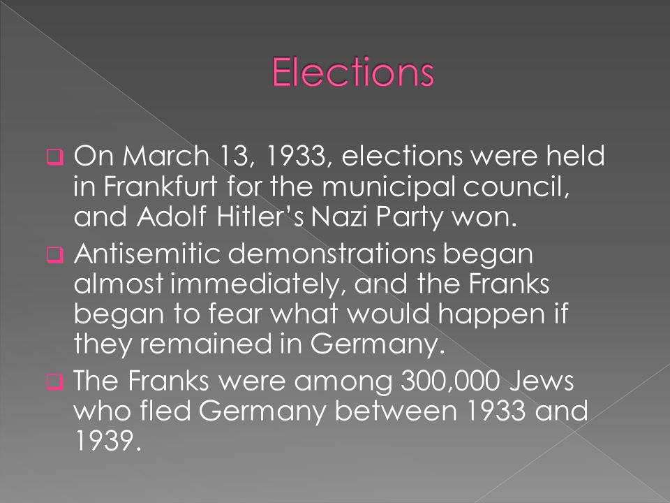  On March 13, 1933, elections were held in Frankfurt for the municipal council, and Adolf Hitler's Nazi Party won.