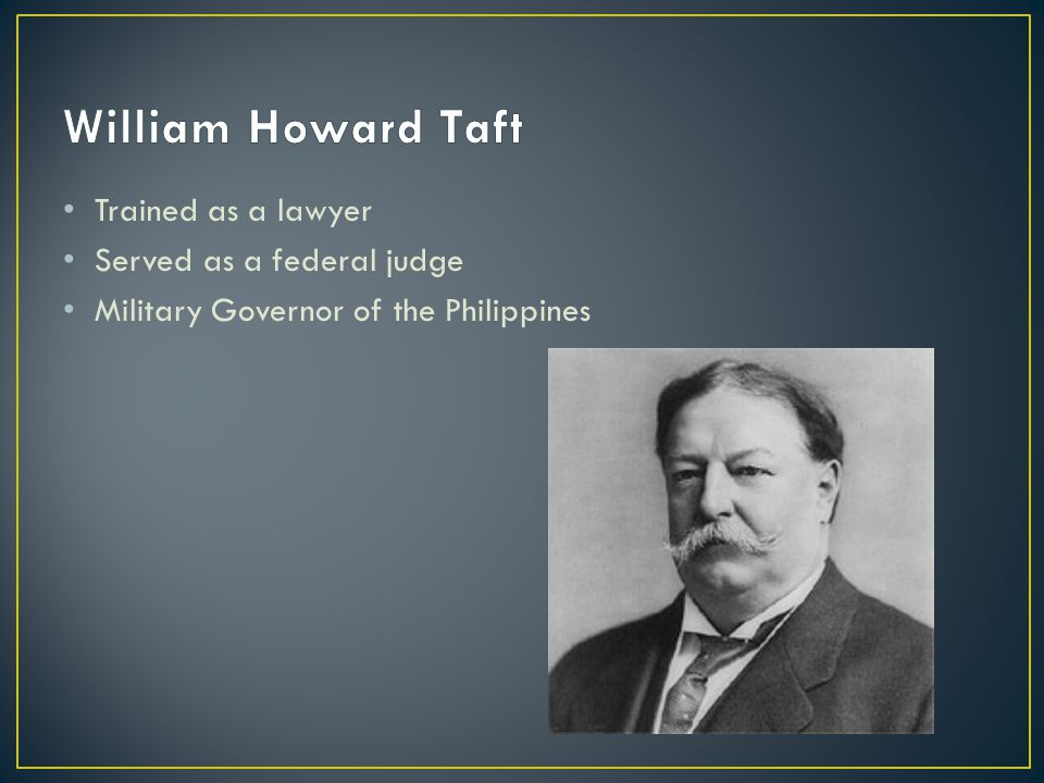 Trained as a lawyer Served as a federal judge Military Governor of the Philippines