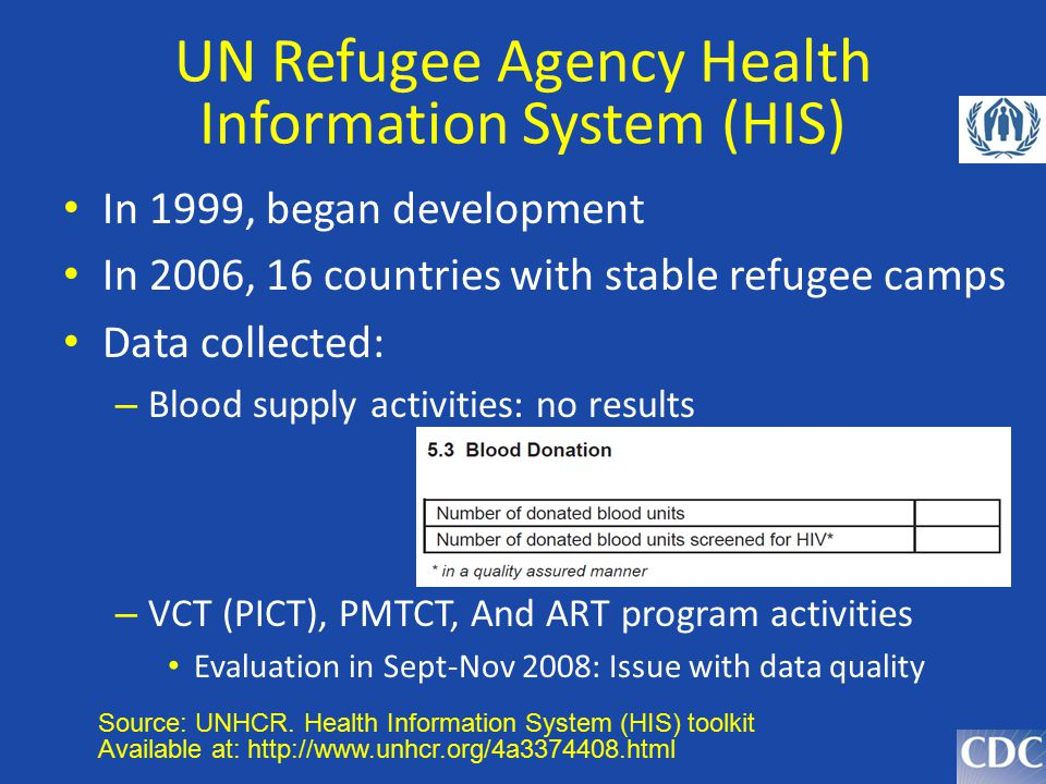 UN Refugee Agency Health Information System (HIS) In 1999, began development In 2006, 16 countries with stable refugee camps Data collected: – Blood s