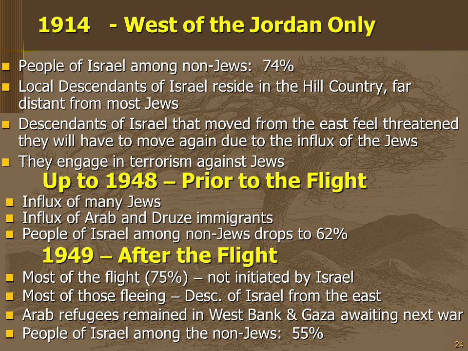 24 1914 - West of the Jordan Only 1914 - West of the Jordan Only People of Israel among non-Jews: 74% People of Israel among non-Jews: 74% Local Descendants of Israel reside in the Hill Country, far distant from most Jews Local Descendants of Israel reside in the Hill Country, far distant from most Jews Descendants of Israel that moved from the east feel threatened they will have to move again due to the influx of the Jews Descendants of Israel that moved from the east feel threatened they will have to move again due to the influx of the Jews They engage in terrorism against Jews They engage in terrorism against Jews Up to 1948 – Prior to the Flight Up to 1948 – Prior to the Flight Influx of many Jews Influx of many Jews Influx of Arab and Druze immigrants Influx of Arab and Druze immigrants People of Israel among non-Jews drops to 62% People of Israel among non-Jews drops to 62% 1949 – After the Flight 1949 – After the Flight Most of the flight (75%) – not initiated by Israel Most of the flight (75%) – not initiated by Israel Most of those fleeing – Desc.