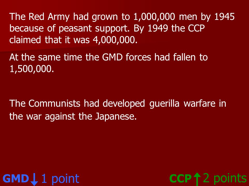 The Red Army had grown to 1,000,000 men by 1945 because of peasant support.