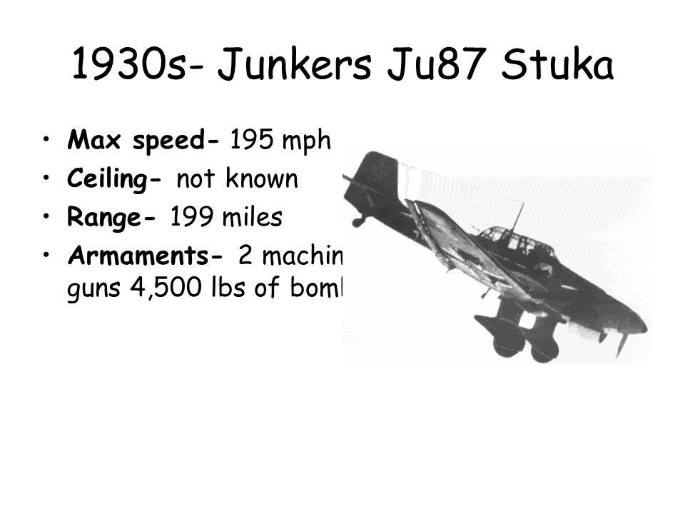 1930s- Junkers Ju87 Stuka Max speed- 195 mph Ceiling- not known Range- 199 miles Armaments- 2 machine guns 4,500 lbs of bombs