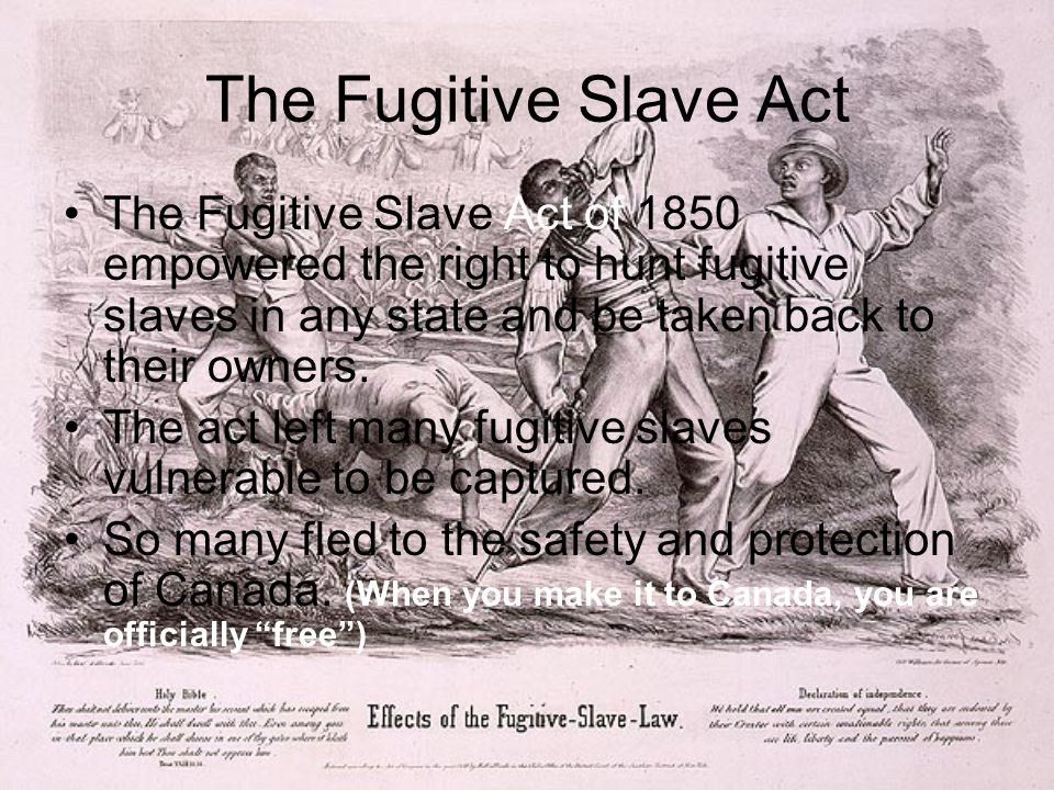 The Fugitive Slave Act The Fugitive Slave Act of 1850 empowered the right to hunt fugitive slaves in any state and be taken back to their owners.