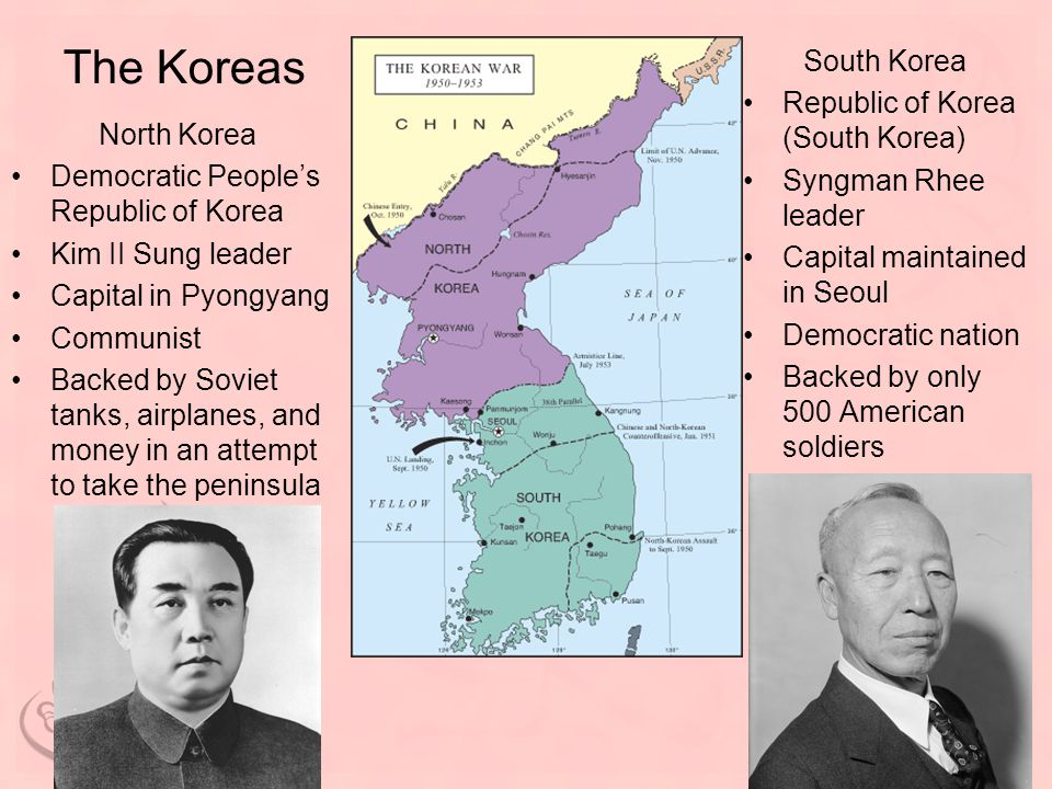The Koreas North Korea Democratic People's Republic of Korea Kim II Sung leader Capital in Pyongyang Communist Backed by Soviet tanks, airplanes, and