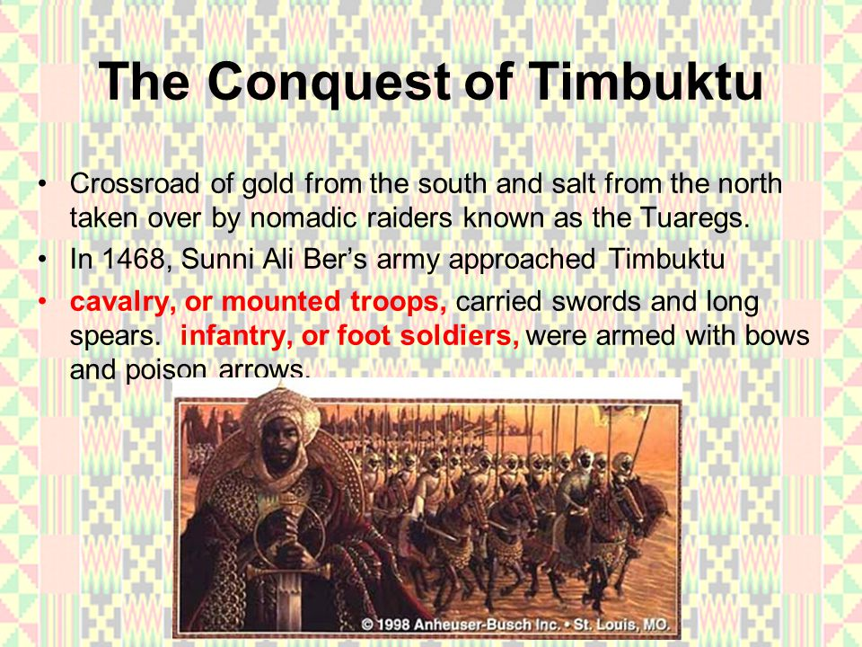 The Conquest of Timbuktu the Tuaregs fled and the troops looted the city killing many people.