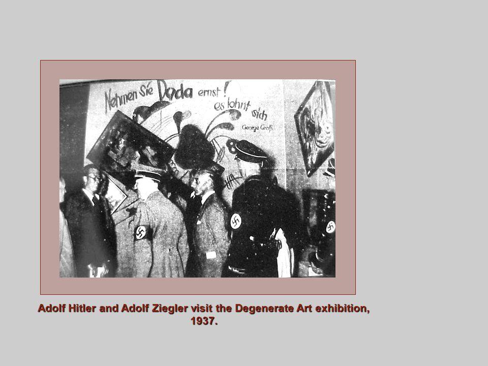 Adolf Hitler and Adolf Ziegler visit the Degenerate Art exhibition, 1937.