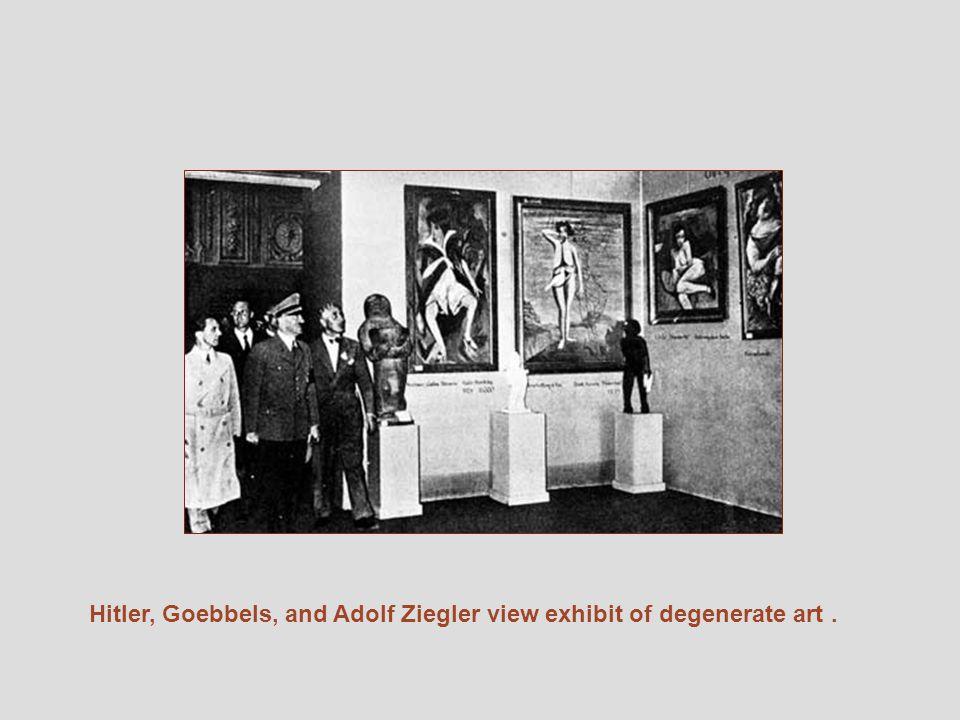 Hitler, Goebbels, and Adolf Ziegler view exhibit of degenerate art.