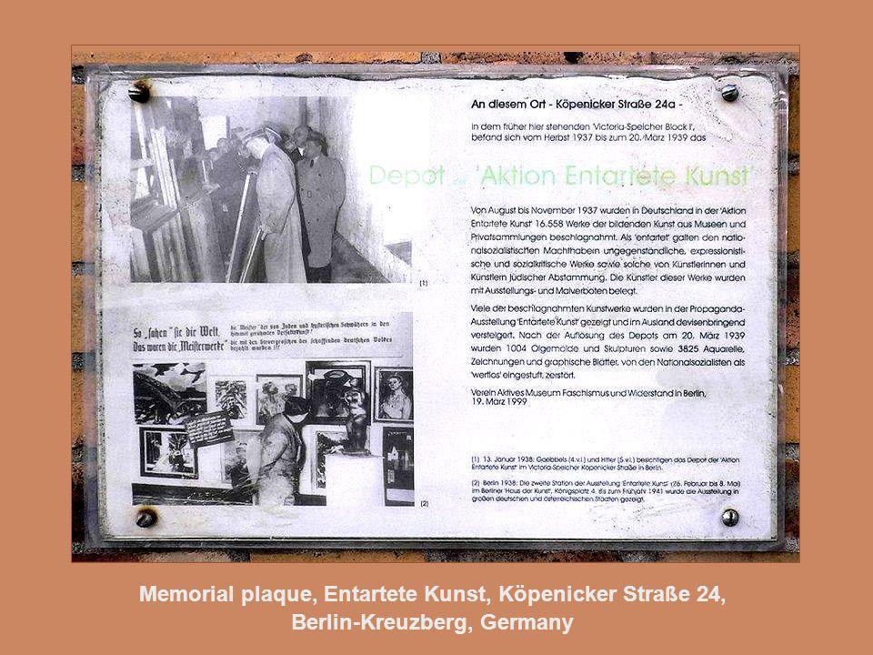 Memorial plaque, Entartete Kunst, Köpenicker Straße 24, Berlin-Kreuzberg, Germany