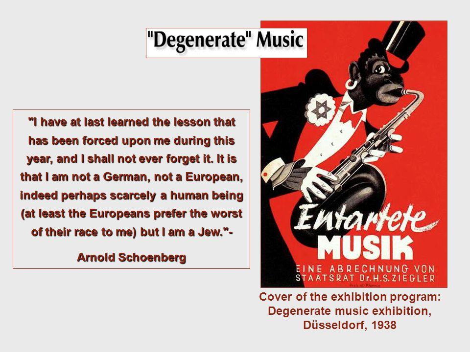Cover of the exhibition program: Degenerate music exhibition, Düsseldorf, 1938