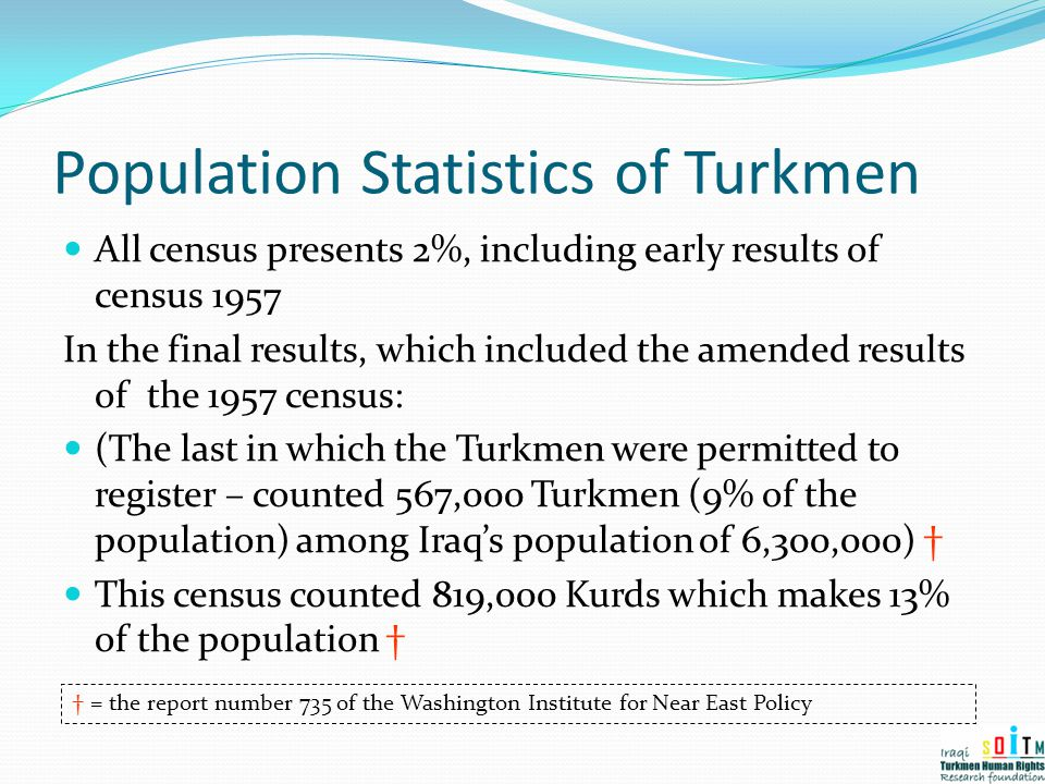 Population Statistics of Turkmen All census presents 2%, including early results of census 1957 In the final results, which included the amended resul