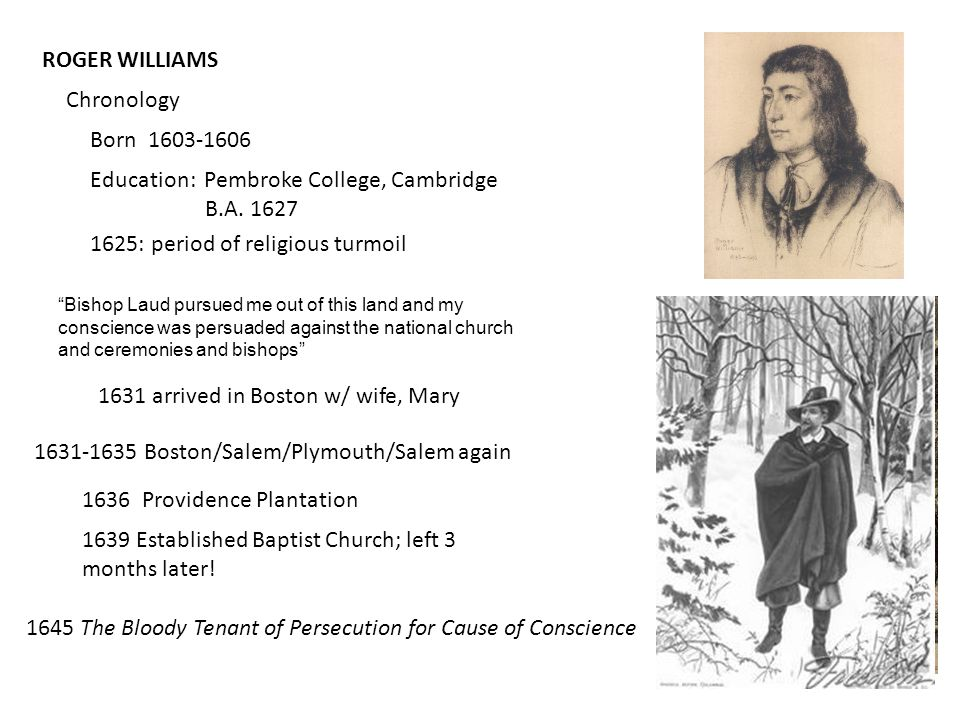 ROGER WILLIAMS Chronology Born 1603-1606 Education: Pembroke College, Cambridge B.A.