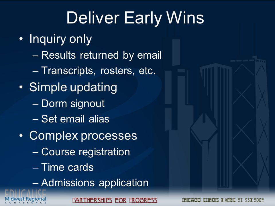 Deliver Early Wins Inquiry only –Results returned by email –Transcripts, rosters, etc. Simple updating –Dorm signout –Set email alias Complex processe