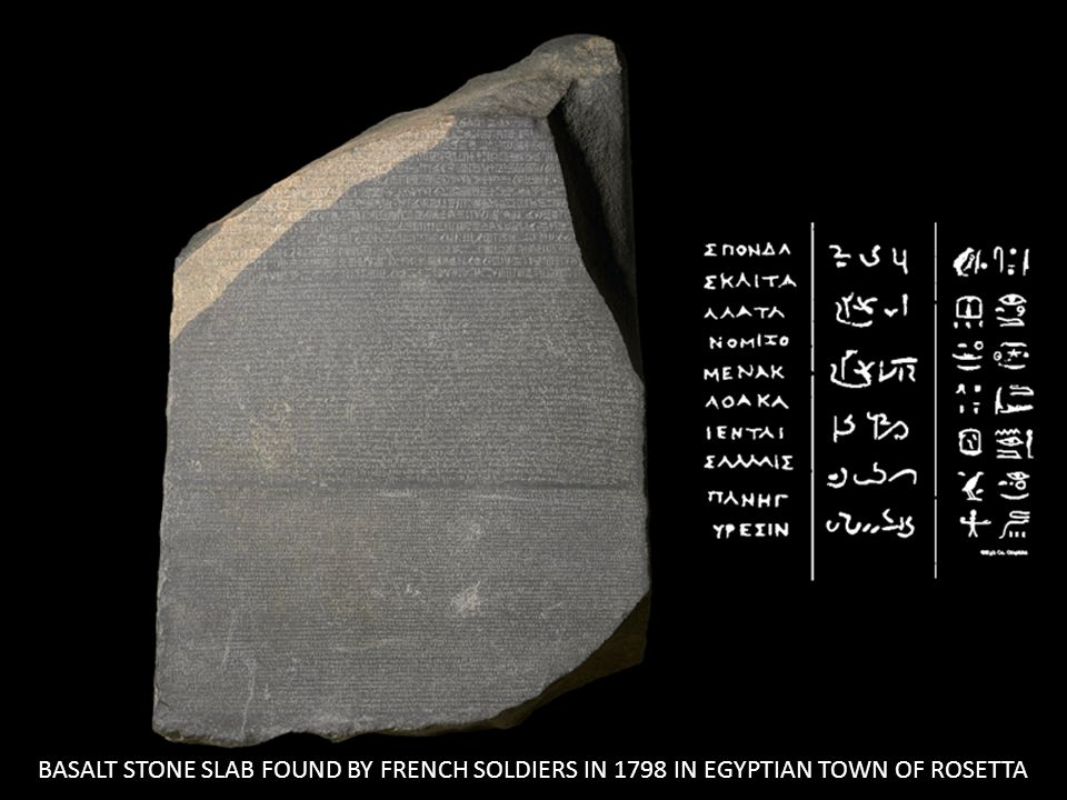 BASALT STONE SLAB FOUND BY FRENCH SOLDIERS IN 1798 IN EGYPTIAN TOWN OF ROSETTA