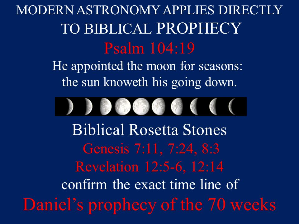 MODERN ASTRONOMY APPLIES DIRECTLY TO BIBLICAL PROPHECY Psalm 104:19 He appointed the moon for seasons: the sun knoweth his going down.