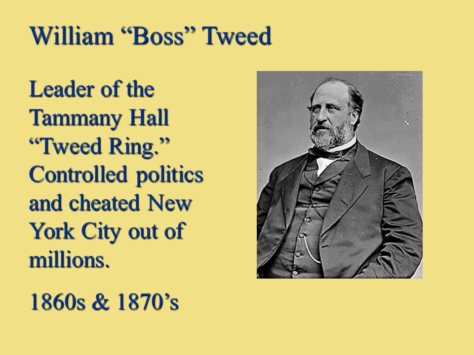 "William ""Boss"" Tweed Leader of the Tammany Hall ""Tweed Ring."" Controlled politics and cheated New York City out of millions. 1860s & 1870's"