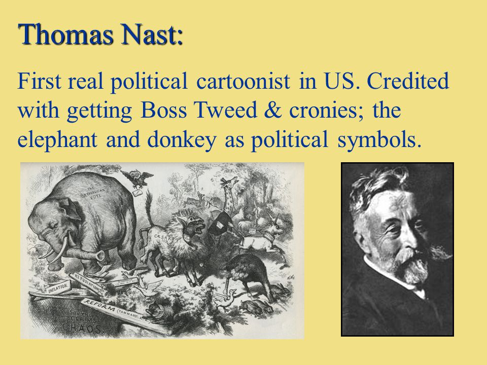 Thomas Nast: First real political cartoonist in US. Credited with getting Boss Tweed & cronies; the elephant and donkey as political symbols.