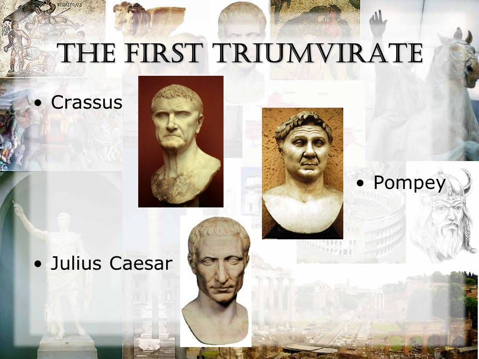 Marcus Licinius Crassus MARCVS·LICINIVS·CRASSVS Wealthiest man in Rome –Fire department Term crass named for him –adjective, 1.without refinement, delicacy, or sensitivity; gross; obtuse 53 BC – Killed by the Parthians –His head was used as a prop in a play