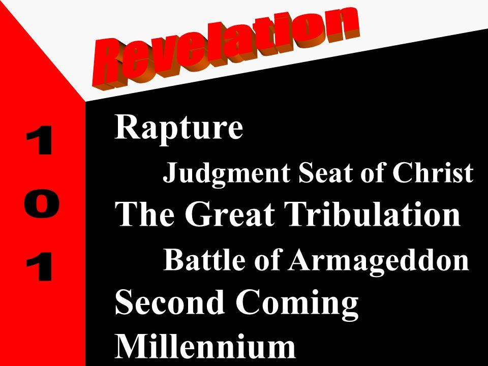 Rapture Judgment Seat of Christ The Great Tribulation Battle of Armageddon Second Coming Millennium