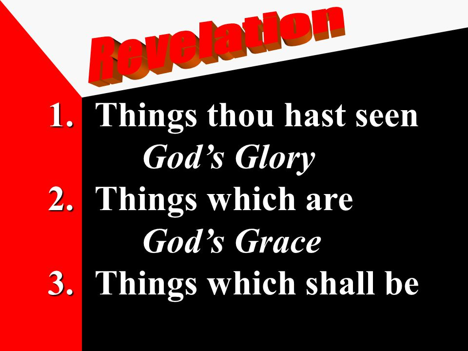 1.Things thou hast seen God's Glory 2.Things which are God's Grace 3.Things which shall be